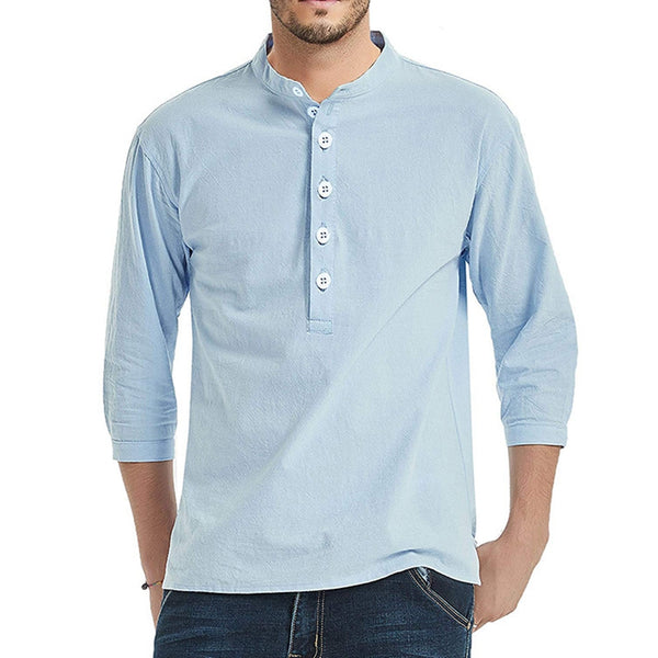 Men's Solid Color Cropped Sleeve Stand Collar Henry Shirt