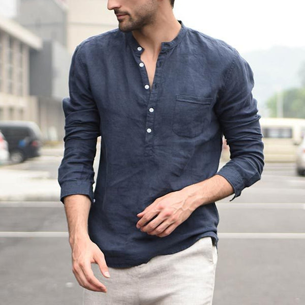 Men's Fashion Stand Collar Pocket Long Sleeve Shirts