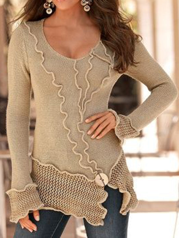 V Neck Casual Color-Block Knitwear Tops