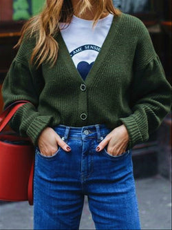 Green Casual Autumn Basic Knitted Sweater Coat