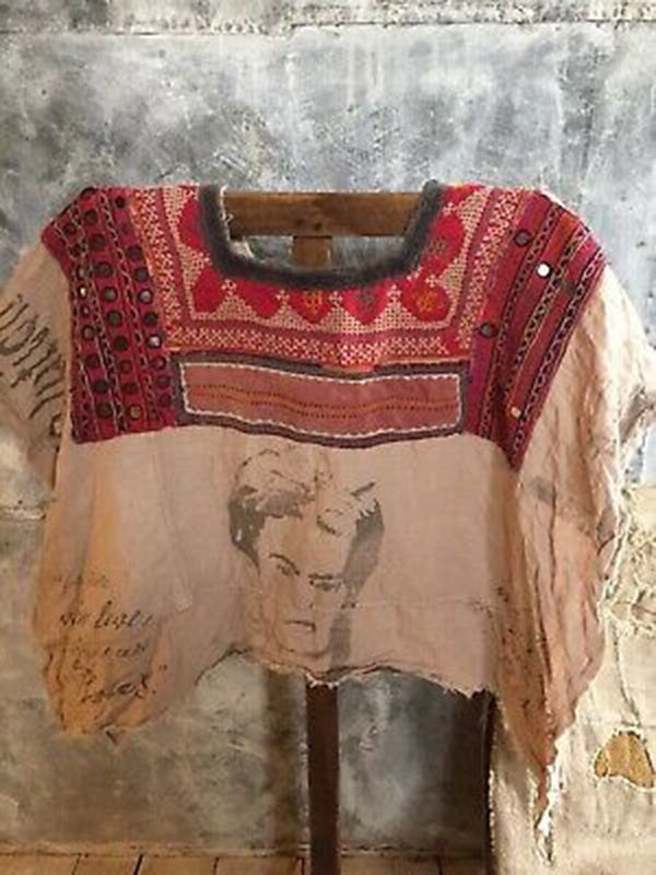 Women Red Square Neck Linen Vintage Tribal Shirts & Tops