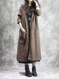 Brown Cotton-Blend Plain Casual Outerwear