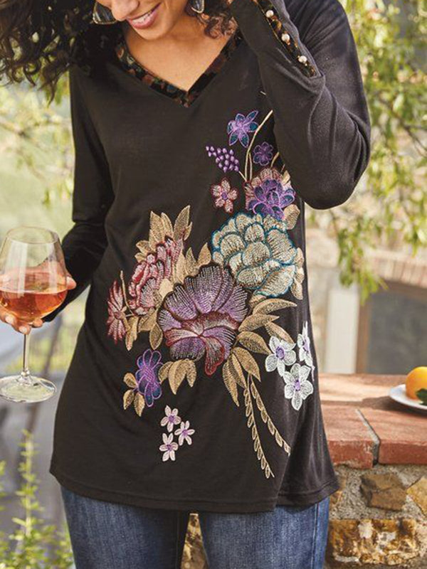 Long Sleeve Floral Holiday Shirts & Tops