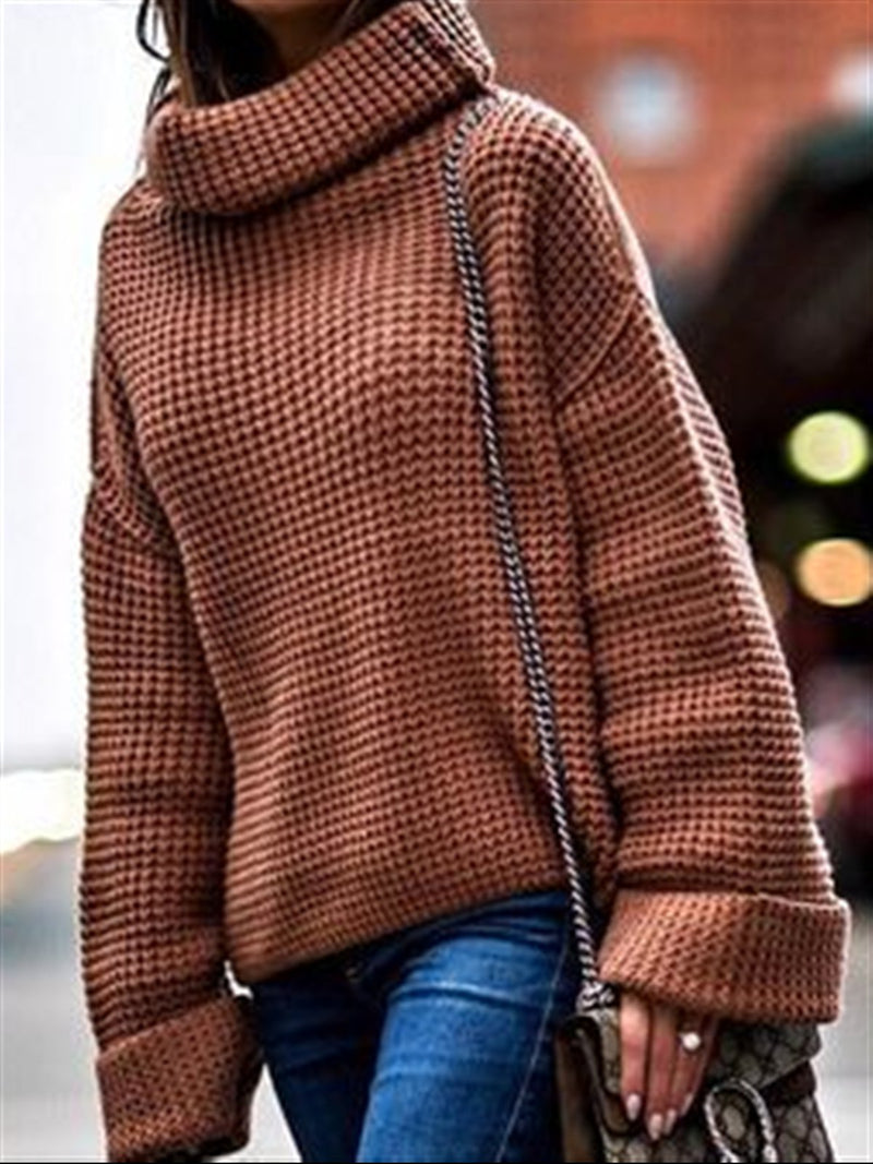 Autumn Winter Casual Basic Daily Turtleneck Long Sleeve Plus Size Knitted Sweater