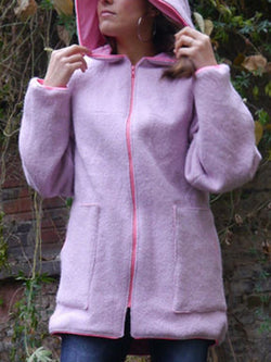 Pink Long Sleeve Cotton Plain Outerwear
