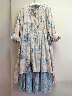 Cotton and linen long-sleeved dress