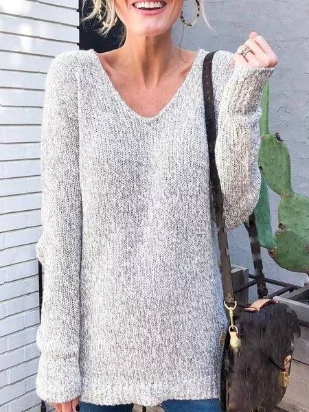 Gray Long Sleeve V Neck Plain Knitted Shirts & Tops