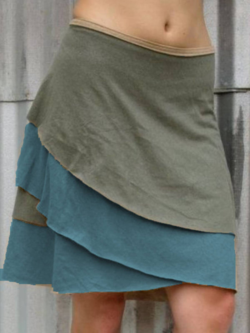 Khaki Plain Cotton Casual Skirts