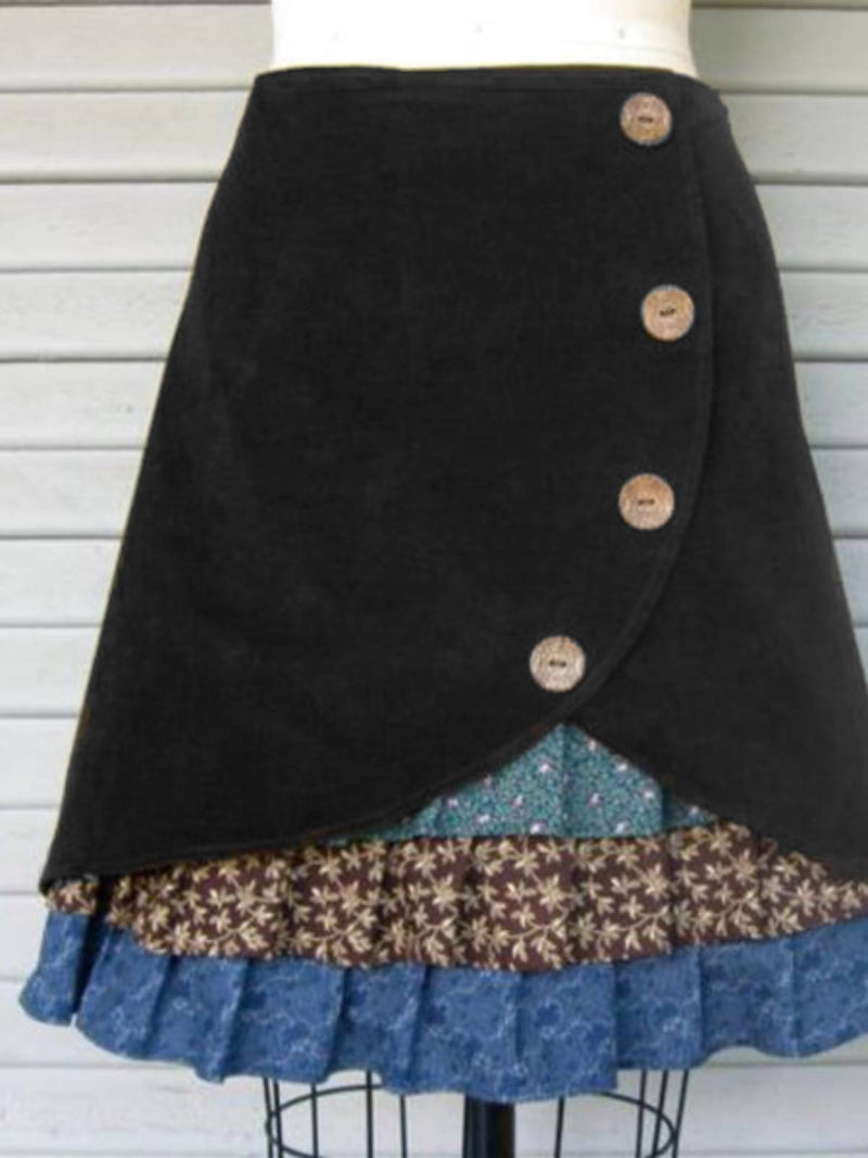 Coffee Cotton Plain Casual Skirts