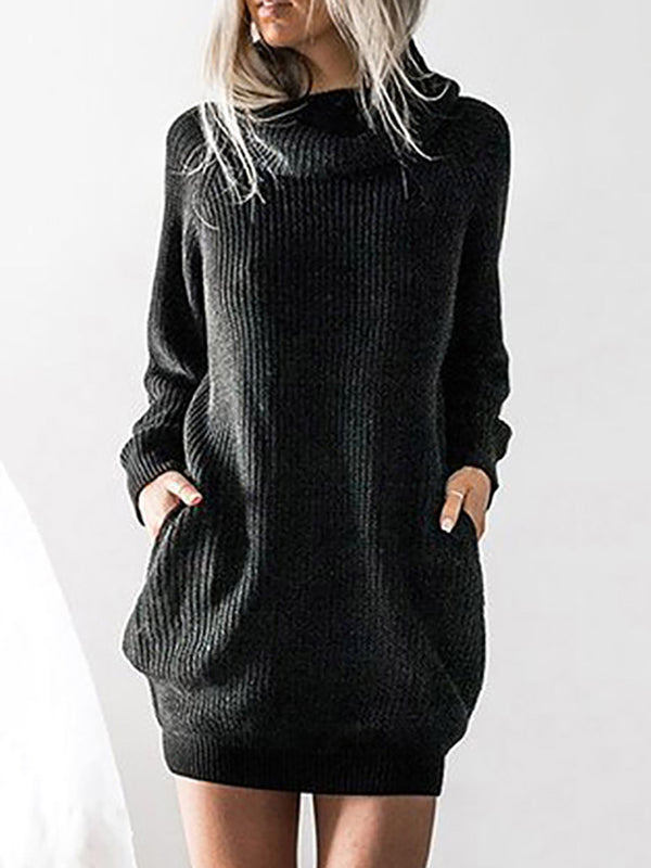 Womens Thick Large Sweater Casual Long Sweater Dress