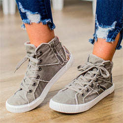 Women Casual Flat Heel Lace-Up Zipper Comfy Sneakers