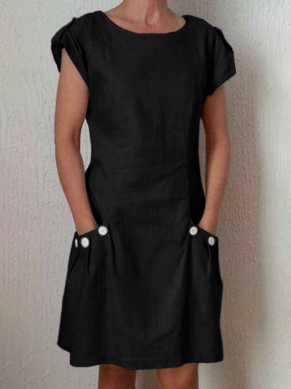 Women Casual Linen Dress Short Sleeve Pockets Buttoned Summer Dresses
