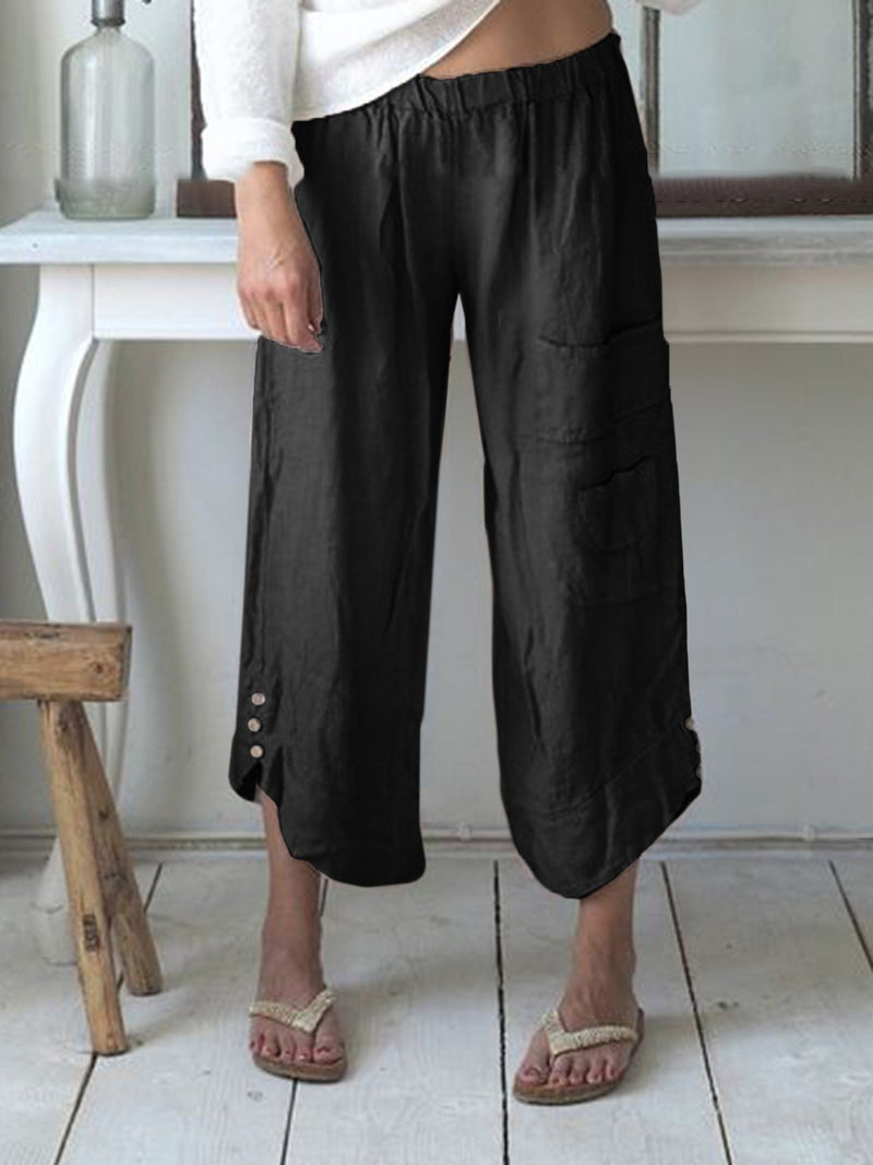 Pockets Buttoned Elastic Waist Stylish Casual Capri Pants