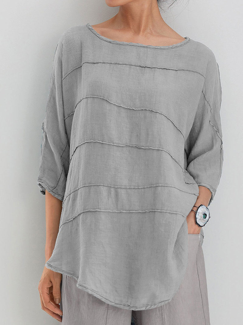 Casual Summer Tops 3/4 Batwing Sleeves Round Neck Solid Blouses