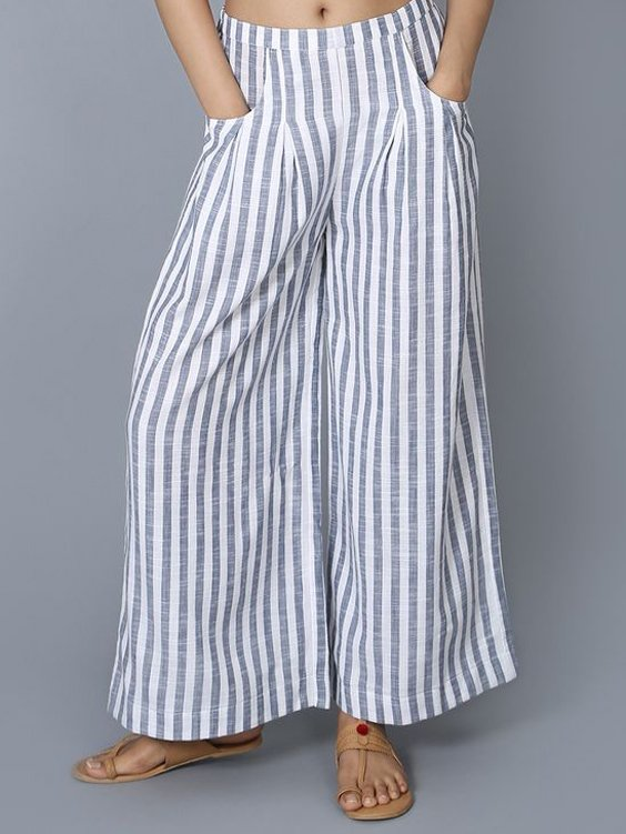Women Striped Pants Pockets Casual Wide Leg Pants