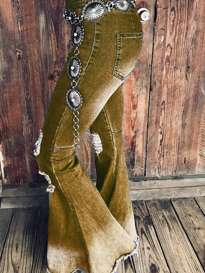 Western Style Boho Plus Size Flared Denim Jeans Pants