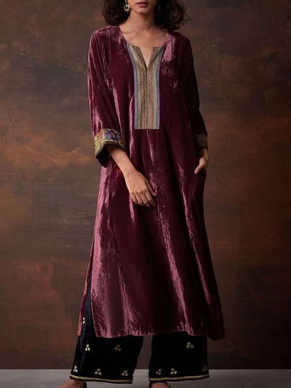 Purple Velvet Long Sleeve Dresses