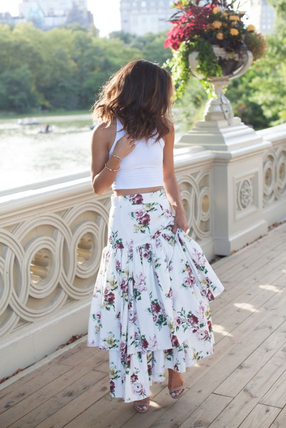 White Cotton-Blend Asymmetric Floral Boho Skirts