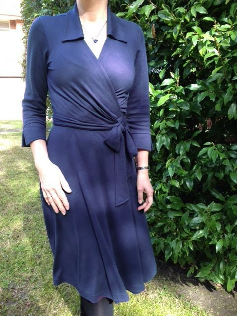 Deep Blue Shift Casual Shawl Collar Long Sleeve Dresses