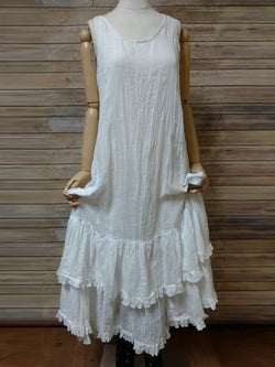 Women White Casual Round Neck Dresses