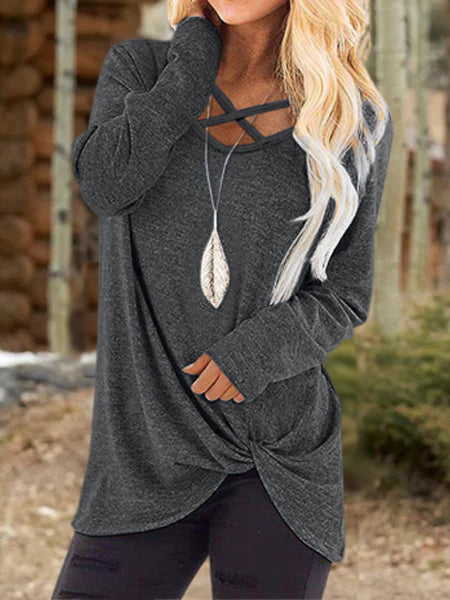 Cutout Casual Long Sleeve Shirts & Tops