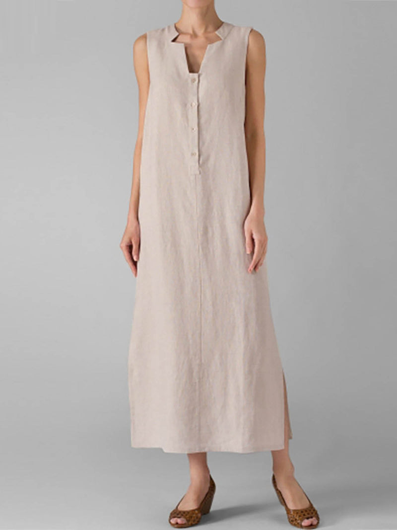 V Neck Cotton Basic Sleeveless Shift Casual Dress