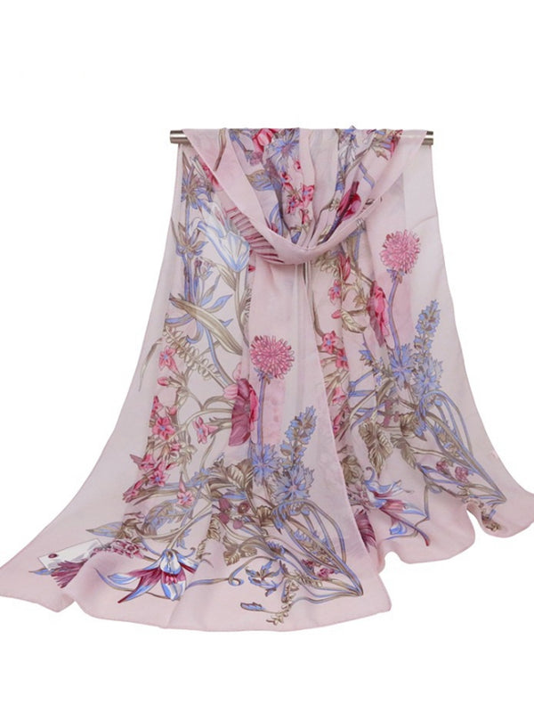 160CM Women Flowers Printing Scarves Casual Oversize Warm Soft Shawls