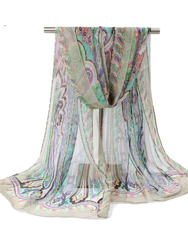 160CM Women Flowers Printing Scarves Casual Oversize Warm Soft Shawl