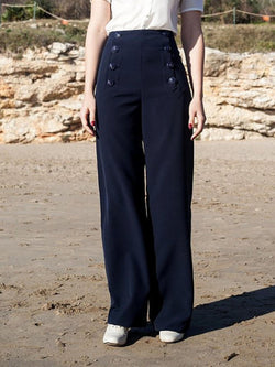Navy Blue Cotton-Blend Vintage Plain Pants