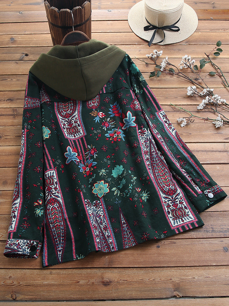 Hoodie Casual Floral Outerwear