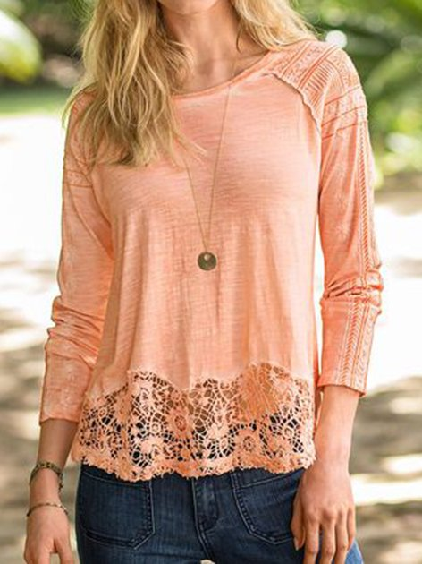 Light Orange Casual Paneled Lace Shirts & Tops