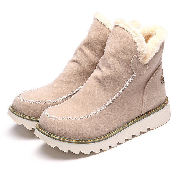 Women Big Size Fashion Booties Warm Fur Lining Winter Ankle Snow Boots