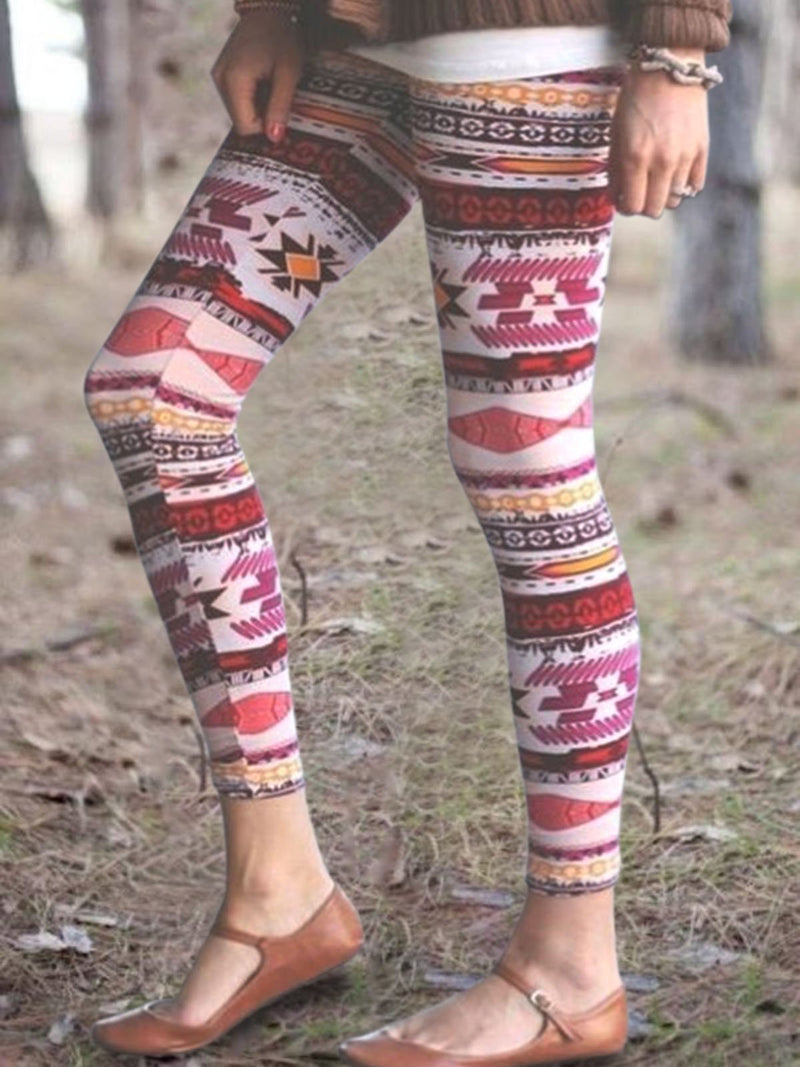 Vintage Multicolor Statement Printed Plus Size Casual Pants