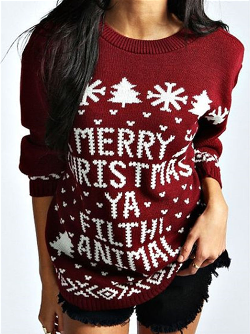 Christmas Style Printed Crew Neck Knitted Sweatshirt