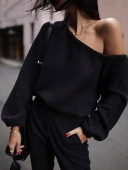 Black Knitted Plain Shift Long Sleeve Sweater