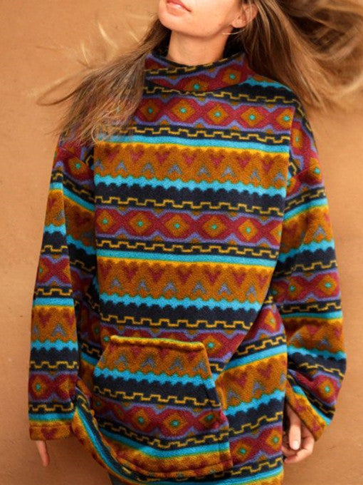 Multicolor Long Sleeve Casual Turtle Neck Geometric Sweater