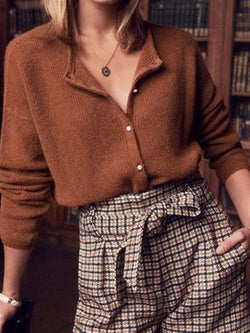 Brown Casual Daily Autumn Knitted Top