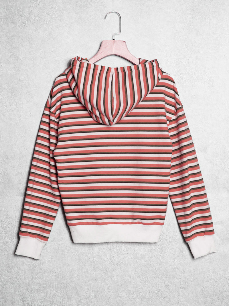 Striped hooded long sleeves