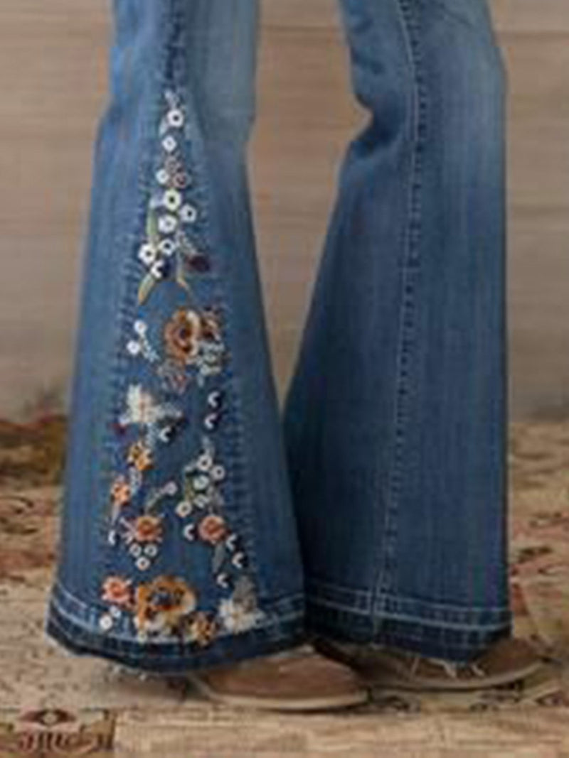 Vintage Denim Floral Pants