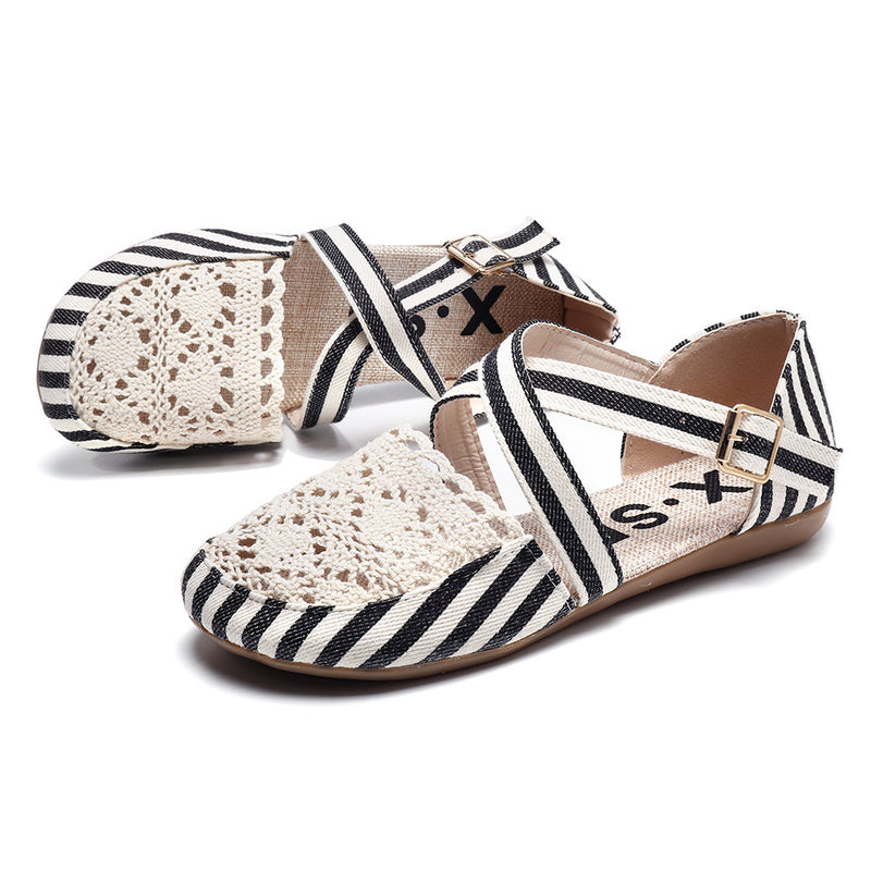 Women Preppy Canvas Fisherman Shoes Buckle Hollow Out Flats