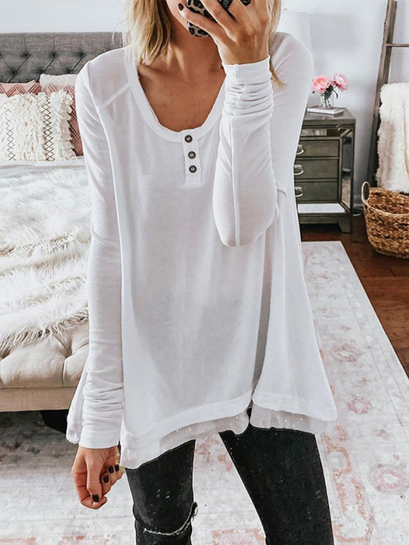 White Long Sleeve Buttoned Shirts & Tops