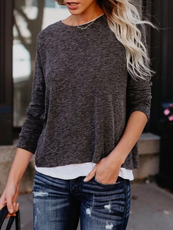 Grey Casual Crew Neck Plus Size Sweatshirts