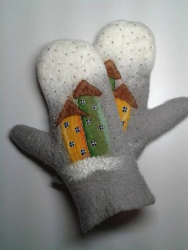 Grey Vintage Winter Warm Gloves
