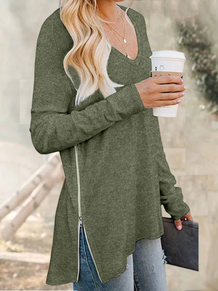 V Neck Long Sleeve Shirts & Tops
