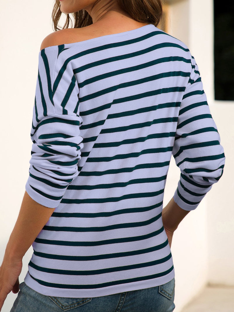 Long sleeve striped thin sweater
