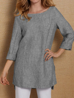 Gray Cotton-Blend Solid Square Neck Long Sleeve Shirts & Tops