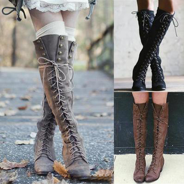 Lace-up Rivet Chunky Heel Winter High Boots