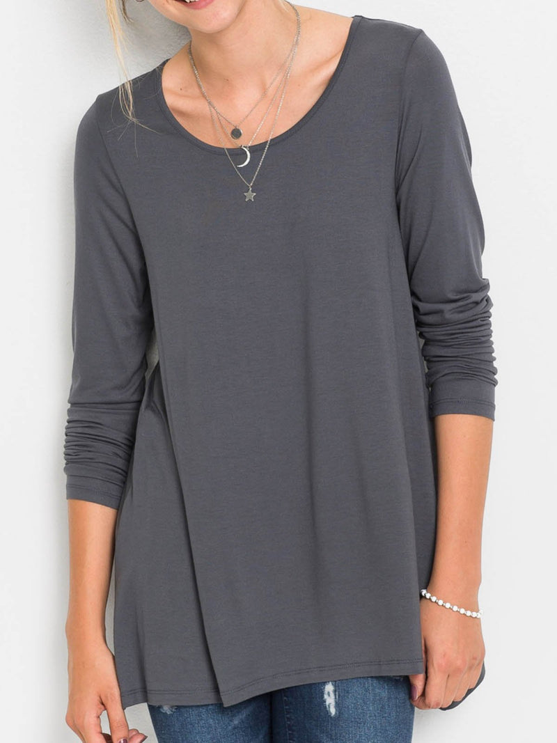Gray Round Neck Casual Shirts & Tops