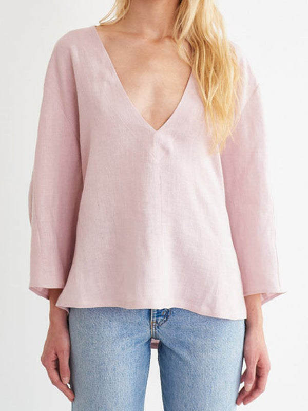 Pink Long Sleeve V Neck Cotton-Blend Solid Shirts & Tops