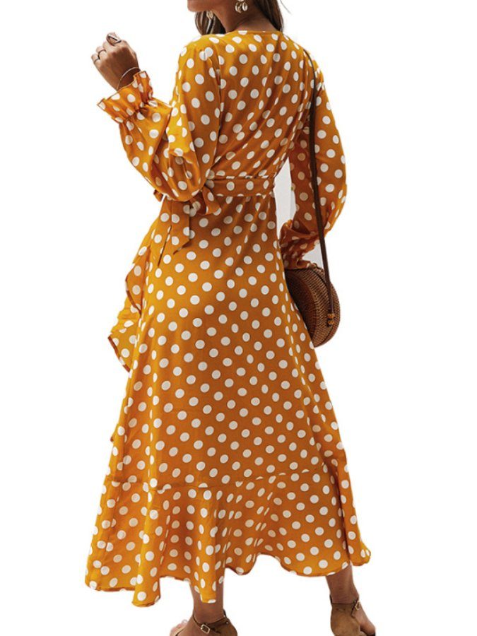 Yellow Long Sleeve Polka Dots Cotton-Blend Dresses